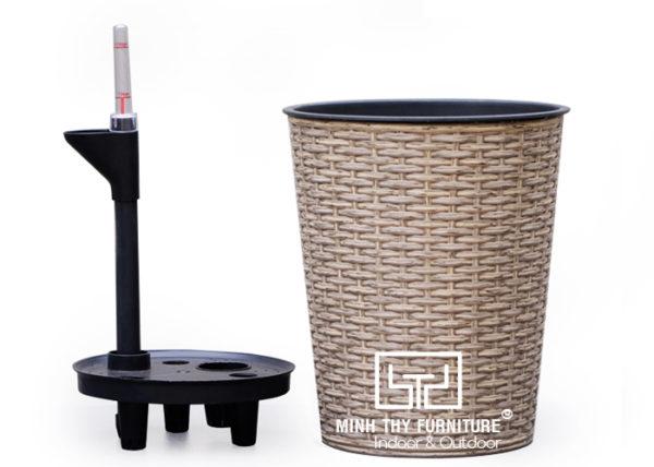 Chậu Trồng Cây Tự Dưỡng Nhựa Đan Tròn – NT26H24