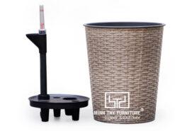 Chậu Trồng Cây Tự Dưỡng Nhựa Đan Tròn – NT26H30