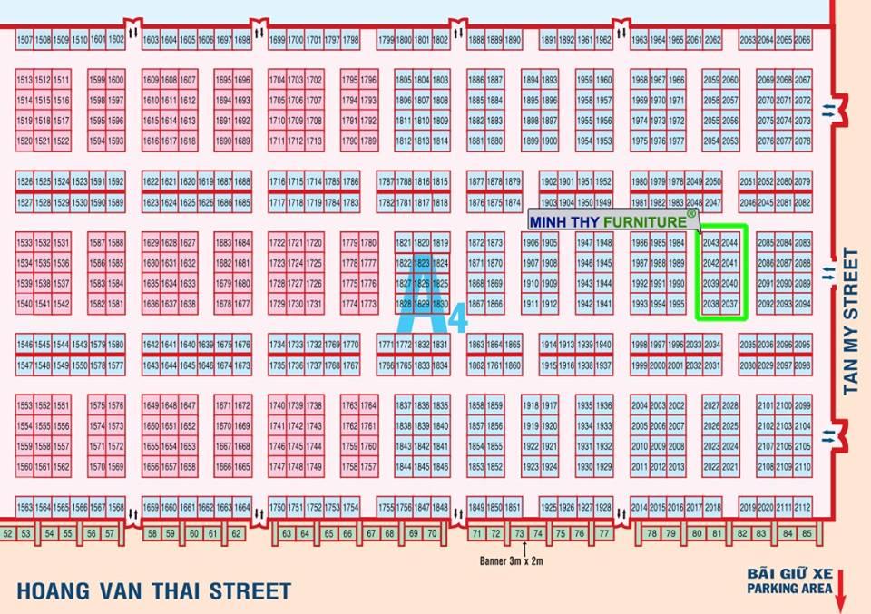 Sơ đồ gian hàng Minh Thy tham gia hội chợ triển lãm Quốc tế VietBuild